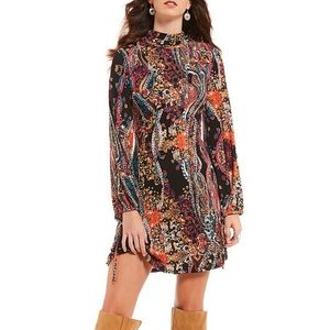 Free People All Dolled Up Boho Paisley Mini Dress